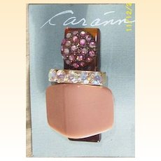 Vintage..Art Deco Style Collage Pin / Brooch..Dusty Peach Stone & Aurora Borealis Rhinestones..Interesting!!