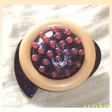 Vintage..Collage...Art Deco Style Pin / Brooch...Honey Colored Ring With Deeper Honey Tiny Beads...