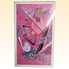Abstract Art Framed Print By Adriano Parisot...Musicical Scales & Instruments..Pink Ground..Coordinates With Blue Ground Print