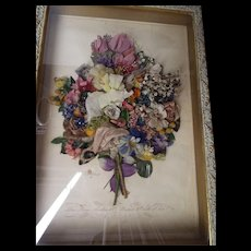 Antique Framed French Silk Flower College...One Of Two - Red Tag Sale Item