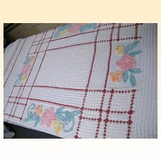 "Vintage CHENILLE Bedspread..Brown Over Plaid Check Grid..Floral..89""X102"""