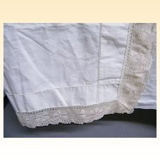 Light Weight Silky Muslin Top Bed Sheet With Mercerized Cotton Crochet Boarder..Queen...NOS..2 Sheets Available