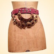 Belt..Part Of Polish Costume..Metal On Leather Strap..Size S/M