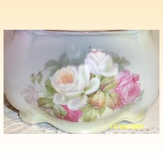 Vintage German Rose Nosegay  Biscuit Or Cracker Jar..Signed Germany