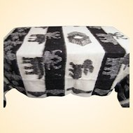"Beige & Brown Figural Animal Alpaca Wool Blanket With Fringe..75"" x 85"" With 2"" Fringe"