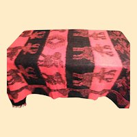 Alpaca Wool Blanket In Red And Black With Animals