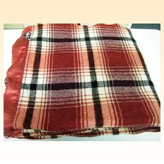 "Wine Plaid Wool Blanket By FARIBO...84"" Long X 74"" Wide"