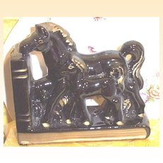 Vintage Horse And Colt Pottery Bookends  Japan Sticker Black With Gold Accent