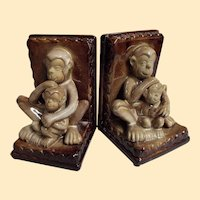 Vintage Ceramic MONKEY Bookends...Pair..Mother & Child..Brown & Beige..Excellent Condition!