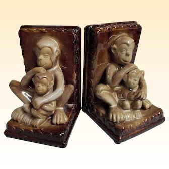 Vintage Ceramic MONKEY Bookends...Pair..Mother & Child..Brown & Beige..Excellent Condition!