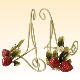"""Strawberry Metal Bookends, Planters...Tole...8"""" Tall"""