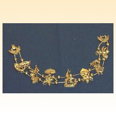 Hearts, Cupid, And Days Of The Week Metal Charm Bracelet Gold Toned  Two Chains