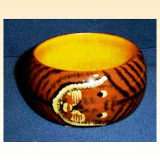 Painted Lion Face Wide Wood Bangle Bracelet