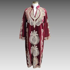 Elegant Long Wine Velveteen Caftan With Gold Metallic Embroidery..Turkey..1960's-70's..Turkey