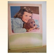 Calendar Backs..Set Of 2..Little Girl With Puppy..Girl Holding Hymn Book..1965....A. Scheer Litho..Never Used