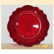 Vintage Red Glass Scalloped Dessert / Salad Plates..   ..1 Set Of 3 Plates Available
