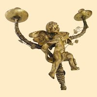 Putti Shabby Chic Tabletop Candelabra..Metal Base, Plastic Putti, Gold Paint