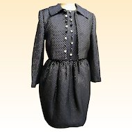 Vintage..DESIGNER Carolyne Roehm Black Quilted Lurex Jacket / Halter Dress....New Condition