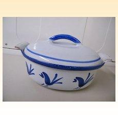 Blue Rooster Husqvarna Of Sweden Cast Iron / Enamel Casserole / Dutch Oven..Blue Rooster Pattern