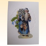Santa In Long Blue Robe & Hood Carrying Tree & Toys..Christmas Card Collage..Die Cut Scraps..Germany