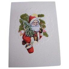 Christmas Collage Card..Die Cut Scraps..Santa Bust..Tree & Sack of Toys..Germany