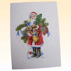 Santa In Long Red Robe & Blue Pants With Trees & Sack Of Toys..Die Cut Scraps Collage..Germany