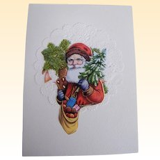 Christmas Card Collage..Santa Bust..Tree & Bag Of Apples..Vintage Paper Scraps..Die Cut..Germany