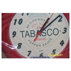 Vintage..TOBASCO Wall Clock..Red Plastic Frame..Battery Operated
