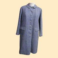 True BARDLEY Warm Winter Coat..Hand Woven Harris Tweed..Scotland..1960's.