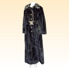 Vintage Fitted Maxi Faux Mink Fur Maxi Coat...Size 8...Penn-Fifth Avenue New York...Grandella Fur