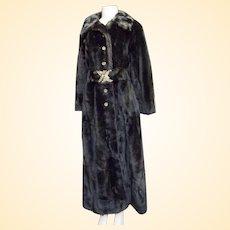 Vintage Fitted Maxi Faux Mink Fur Maxi Coat...Size 8...Penn-Fifth Avenue New York...Grandella Fur