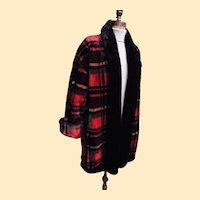 1980's Fun Faux Fur Tartan Plaid Coat By Donny Brook...Excellent Condition