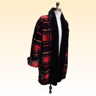 1980's Fun Faux Fur Tartan Plaid Coat By Donny Brook...Excellent Condition