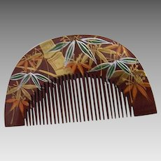 Japanese Hand Carved & Painted Wood Decorative Comb..Arched Shape..1970's..New Condition