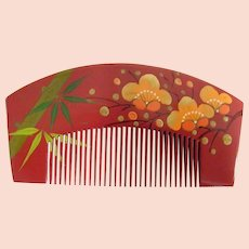 Japanese Hand Carved Wood & Hand Painted Decorative Comb..New Condition