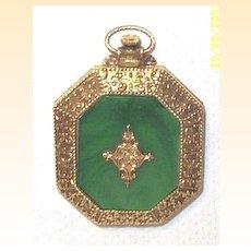Vintage...Green Faux Marble Octagonal Mini Powder Compact..Pendant