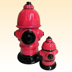 RED Fire Hydrant Cookie Jar & Matching Bank Ceramic