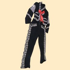 Vintage Childs Mexican Gaucho / Cowboy 3 Piece Suit..Black Wool With Embroidery