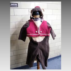 Fuzzy Vintage Monkey Costume With Hat & Vest For Young Child