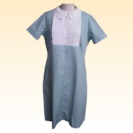 Student Nurse's Uniform...Bib Front..Aqua / White Cord..Zipper Back..New Condition..Size 20