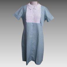 Student Nurse's Uniform...Bib Front..Aqua / White Cord..Zipper Back..New Condition..Size 20