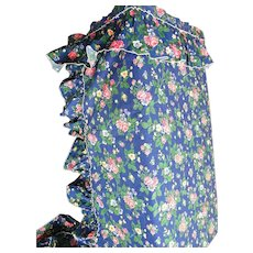 Priscilla Curtains Blue Cotton Broadcloth Ground With Red Lavender And Yellow Flowers New Condition