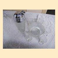 Paden City.. SPRING ORCHARD Glass Bar Set:..Cocktail Shaker.. Ice Bucket..Glasses..Set