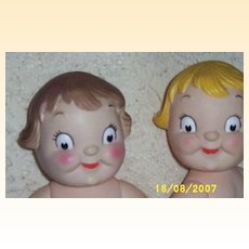 Vintage...PAIR Of Googly-Eyed Vinyl / Rubber Dolls..Jointed..Brother & Sister