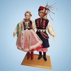 Polish Folk Dolls..Man & Women..Cloth Body..Detailed Cotton & Embroidered Costumes..Mounted On Wood Stand