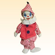 1940's Gund Clown Doll..Painted Rubber Face..Red & White Striped Cotton Clothing & Cap
