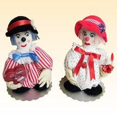 Soft Sculpture Pair Of Clowns..Boy Friend & Girl Friend,,,Excellent Condition