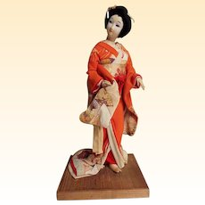 Japanese Geisha Doll With Silk Crepe Kimono...1930's...Go Fun Face