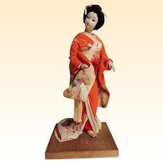 Japanese Geisha Doll With Silk Crepe Kimono...1930's...Go Fun Face