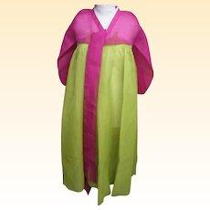 Korean Cerimonial Dress / Gown..Designer..Silk Organza..Magenta Bolero / Line Green Skirt...Excellent Condition